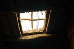 Szczegół stary okno przy historyczną glinianą grodzką pomocą Ben Haddou w atlant górach Maroko, afryka pólnocna Zdjęcia Royalty Free
