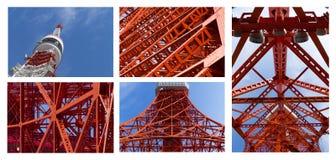 Szczegół Tokio wierza punkt zwrotny Japonia w niebieskim niebie obrazy stock
