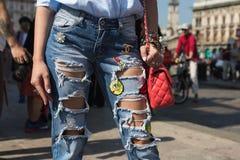 Szczegół torba podczas Mediolańskiego moda tygodnia Obraz Royalty Free