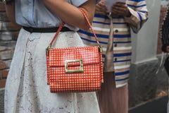 Szczegół torba przy Mediolańskim moda tygodniem Fotografia Royalty Free