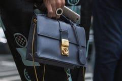 Szczegół torba przy Mediolańskim moda tygodniem Zdjęcia Royalty Free