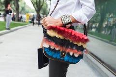 Szczegół torba przy Mediolańskim moda tygodniem Obraz Stock