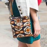 Szczegół torba przy Mediolańskim moda tygodniem Obrazy Royalty Free