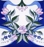 Szczegół tradycyjne płytki od fasady stary dom dekoracyjne płytki Hiszpania tradycyjne płytki ornament kwiecisty Majolika, Wat Fotografia Royalty Free
