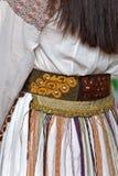 Szczegół tradycyjny Rumuński ludowy kostium od Banat terenu, Rom Obrazy Stock