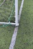 Szczegół używać i drapająca brama futbol przy boisko do piłki nożnej Zdjęcie Royalty Free