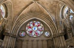 Szczegół witrażu okno we wnętrzu katedry Zdjęcie Royalty Free