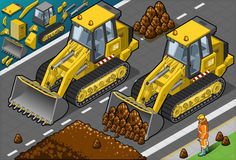 Isometric Żółty buldożer w Frontowym widoku Fotografia Royalty Free