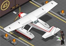 Isometric Lądujący hydroplan Z hangaru ilustracja wektor
