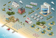 Szczegółowa ilustracja Isometric nadmorski budynki ilustracji