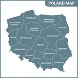 Szczegółowa mapa Polska z regionami lub stanami ilustracja wektor