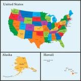Szczegółowa mapa usa wliczając Alaska i Hawaje Stany Zjednoczone Ameryka z capitals i dużymi miastami Royalty Ilustracja