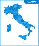 Szczegółowa mapa Włochy z regionami, stany lub miasta, kapitał ilustracja wektor