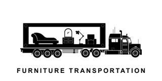 Szczegółowa meblarska odtransportowanie ciężarówki ilustracja royalty ilustracja