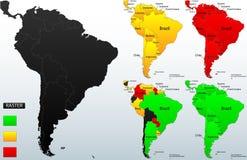 Szczegółowa polityczna mapa Ameryka Południowa Zdjęcia Stock