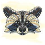 Szczegółowa ręka rysująca doodle konturu szop pracz ilustracja Dekoracyjny w zentangle stylu Wzorzysty ognisty na grunge Obrazy Royalty Free