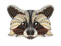 Szczegółowa ręka rysująca doodle konturu szop pracz ilustracja Dekoracyjny w zentangle stylu Wzorzysty ognisty na grunge Obraz Royalty Free