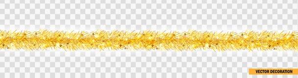 Szczegółowa szeroka złota boże narodzenie girlanda Xmas świecidełka granica Wektorowa dekoracja dla wakacyjnego projekta, strona  ilustracji