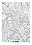 Szczegółowa wektorowa plakatowa miasto mapa Madryt