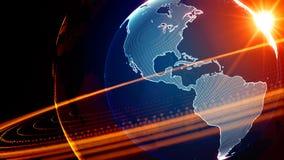 Szczegółowa wirtualna planety ziemia Technologiczny cyfrowy kula ziemska świat Obraz Royalty Free
