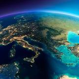 Szczegółowa ziemia Włochy, Grecja i morze śródziemnomorskie, Fotografia Stock