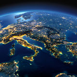 Szczegółowa ziemia Włochy, Grecja i morze śródziemnomorskie na muczeniu, Zdjęcia Royalty Free