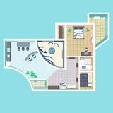 Szczegółowego mieszkania meblarski zasięrzutny odgórny widok Zdjęcia Royalty Free