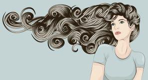 szczegółowego twarzy włosy długa s prawdziwa kobieta ilustracja wektor