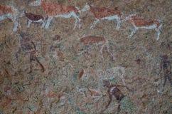 Szczegółowi buszmeni lub San rockowi obrazy przy Białym dama panelem, Brandberg, Damaraland, Namibia, afryka poludniowa Fotografia Stock