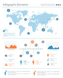 Szczegółowi infographic elementy ustawiający z światowej mapy grafika i ch Zdjęcie Stock