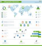 Szczegółowi infographic elementy ustawiający z światowej mapy grafika i ch ilustracji