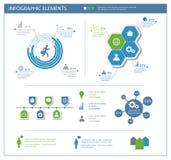 Szczegółowi infographic elementy ustawiający z grafika i mapami Fotografia Stock