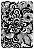 Szczegółowy abstrakcjonistyczny zentangle kwitnie tło Obraz Stock