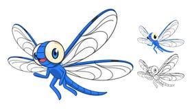 Szczegółowy Dragonfly postać z kreskówki z Płaskim projektem i Kreskowej sztuki Czarny I Biały wersją Obrazy Royalty Free