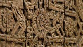 Szczegółowy kwiecisty wzór na rzeźbiącym drewnie w Xiva zbiory