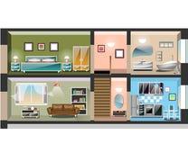 Szczegółowy nowożytny domowy wnętrze ilustracja wektor