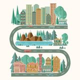 Szczegółowy obrazek miasto krajobraz aktywny tryb życia Łatwy editable dla rysować - w górę nowych opcji dla lokacji budynki royalty ilustracja
