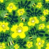 szczegółowy rysunek kwiecisty pochodzenie wektora Bezszwowy wzór z pszczołą i kwiatem w doodl Obrazy Stock