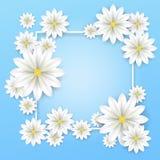 szczegółowy rysunek kwiecisty pochodzenie wektora Biały papierowych kwiatów ramowy plakat z pięknym okwitnięcia tłem również zwró Obrazy Stock