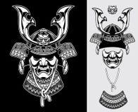 Szczegółowy samuraja opancerzenie  royalty ilustracja