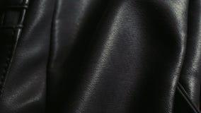 Szczegółowy strzał czarna naturalna lub sztuczna rzemienna torba zdjęcie wideo