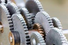 Szczegółowy widok gearwheels od przemysłowej maszyny Zdjęcie Royalty Free