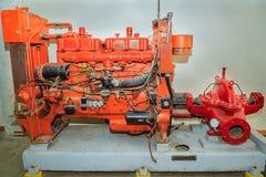 Szczegółowy widok pięknego szczegółowego starego rocznika retro maszynowy narzędzie, pożarnicza pompa Obraz Stock