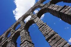 Szczegółowy widok Romański akwedukt Segovia, Hiszpania Zdjęcia Stock