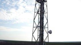 Szczegółowy widok z lotu ptaka telekomunikacyjny donosicielki anteny system, plenerowa donosicielki stacja bazowa zbiory