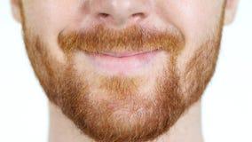Szczegółowy wizerunek ono Uśmiecha się młody człowiek, twarzy up, Czerwona Włosiana broda Zamknięta, Fotografia Stock