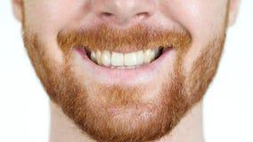 Szczegółowy wizerunek ono uśmiecha się z perfect białymi zębami młody człowiek Obrazy Stock