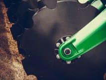 Szczegółowy zbliżenie dysk brony rolnicza maszyneria Zdjęcie Stock