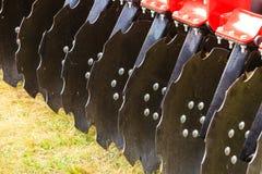 Szczegółowy zbliżenie dysk brony rolnicza maszyneria Zdjęcia Stock