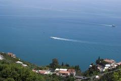 Szczegółu Amalfi wybrzeża krajobrazowy widok od Agerola wioski Obrazy Royalty Free